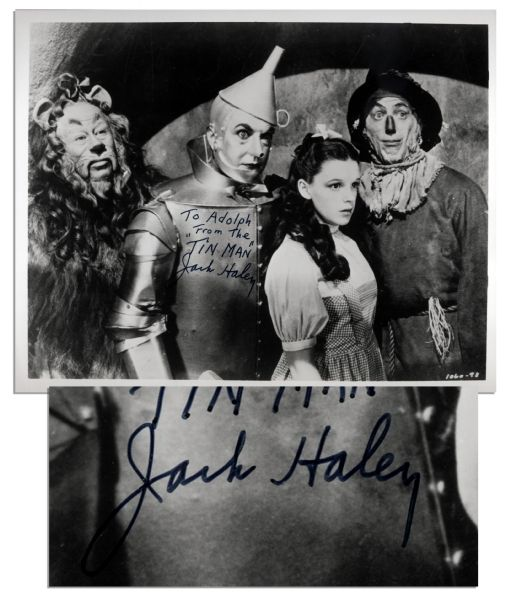 Jack Haley Signs & Inscribes a 10'' x 8'' ''Wizard of Oz'' Glossy Photo -- ''To Adolph From The 'Tin Man' Jack Haley'' -- Near Fine