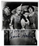 Jack Haley Signs & Inscribes a 10 x 8 Wizard of Oz Glossy Photo -- To Adolph From The Tin Man Jack Haley -- Near Fine