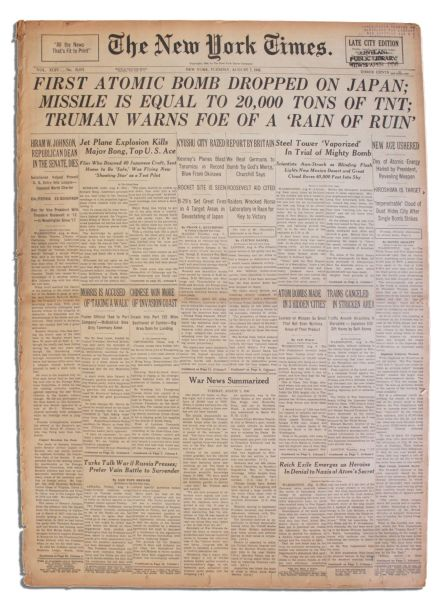 ''New York Times'' Announces First Atomic Bomb Drop -- ''Missile is Equal to 20,000 Tons of TNT; Truman Warns Foe of a 'Rain of Ruin'''