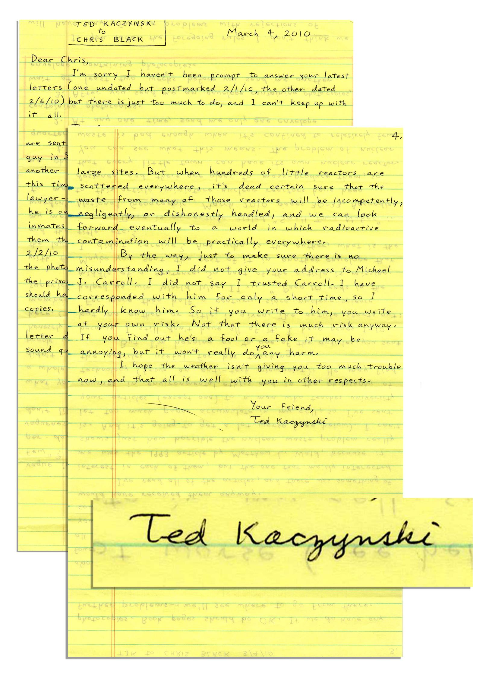 Lot Detail Unabomber Ted Kaczynski Autograph Letter
