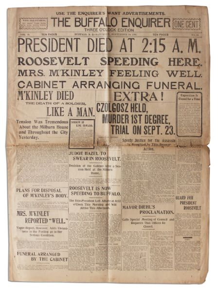 'The Buffalo Enquirer'' 14 September 1901 Reporting on President McKinley's Death -- ''...McKinley Died the Death of a Soldier, Like a Man...''