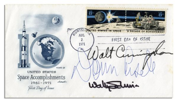Apollo 7 First Day Cover Signed by Walt Cunningham, Donn Eisele & Wally Schirra