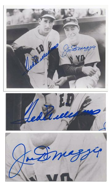 Photo Signed by Joe DiMaggio & Ted Williams -- 10'' x 8'' -- With JSA COA -- Near Fine