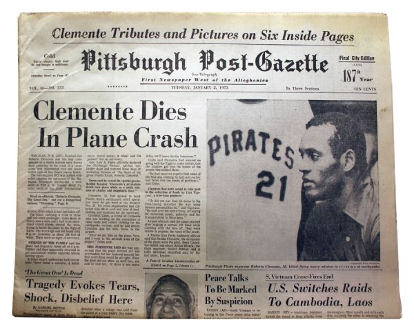 Roberto Clemente's 1973 Death Reported in the ''Pittsburgh Post-Gazette''