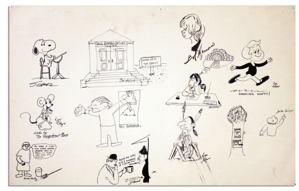 Charles Schulz Draws Snoopy In a Scene With Characters From Ten Other Cartoons -- 23'' x 14.5''