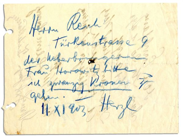 Theodore Herzl Autograph Note Signed -- Rare