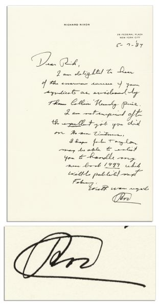 Richard Nixon Autograph Letter Signed -- ''...I am not surprised after the excellent job you did on No More Vietnams...'' -- 1987