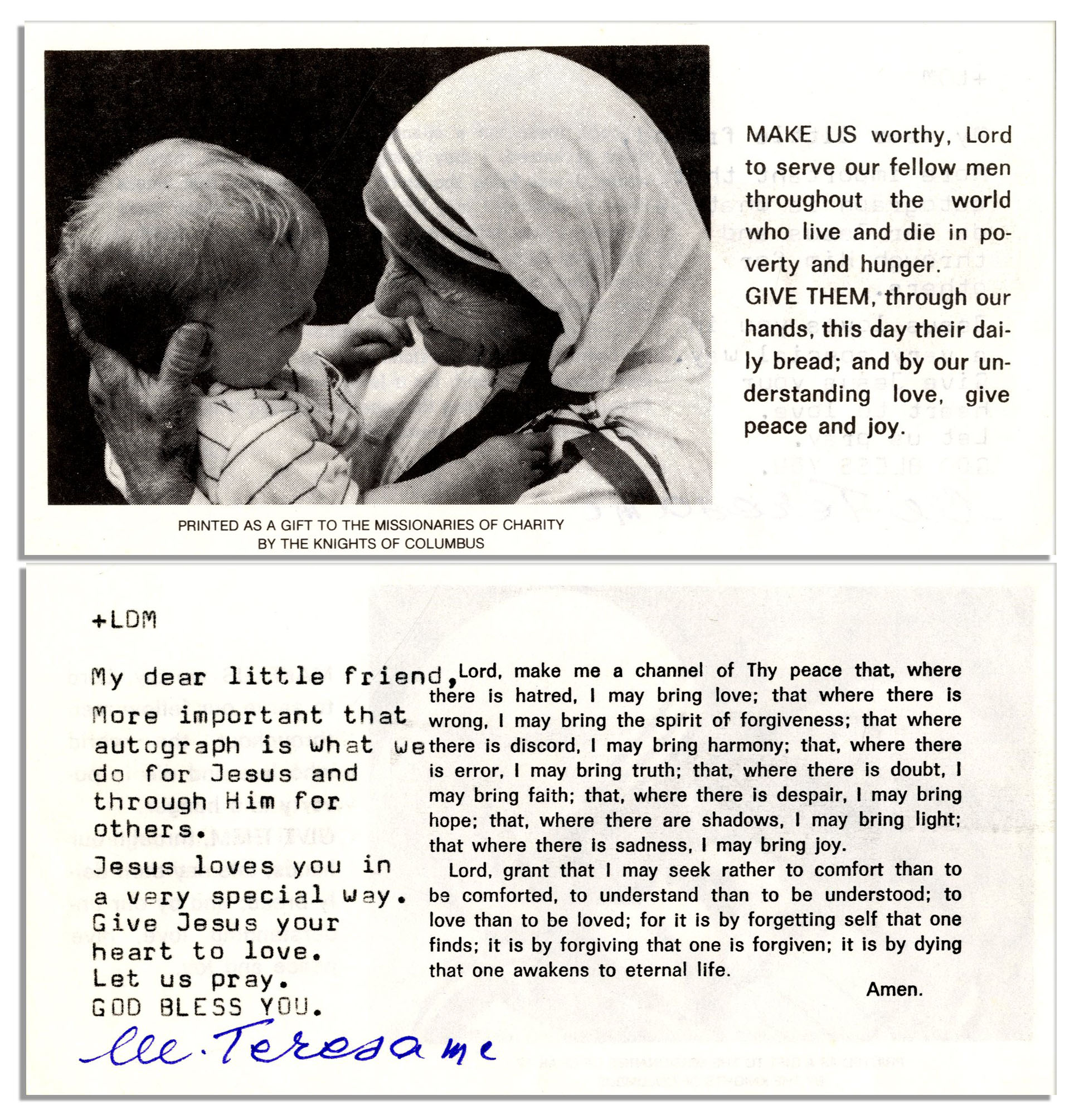 Mother Teresa autograph