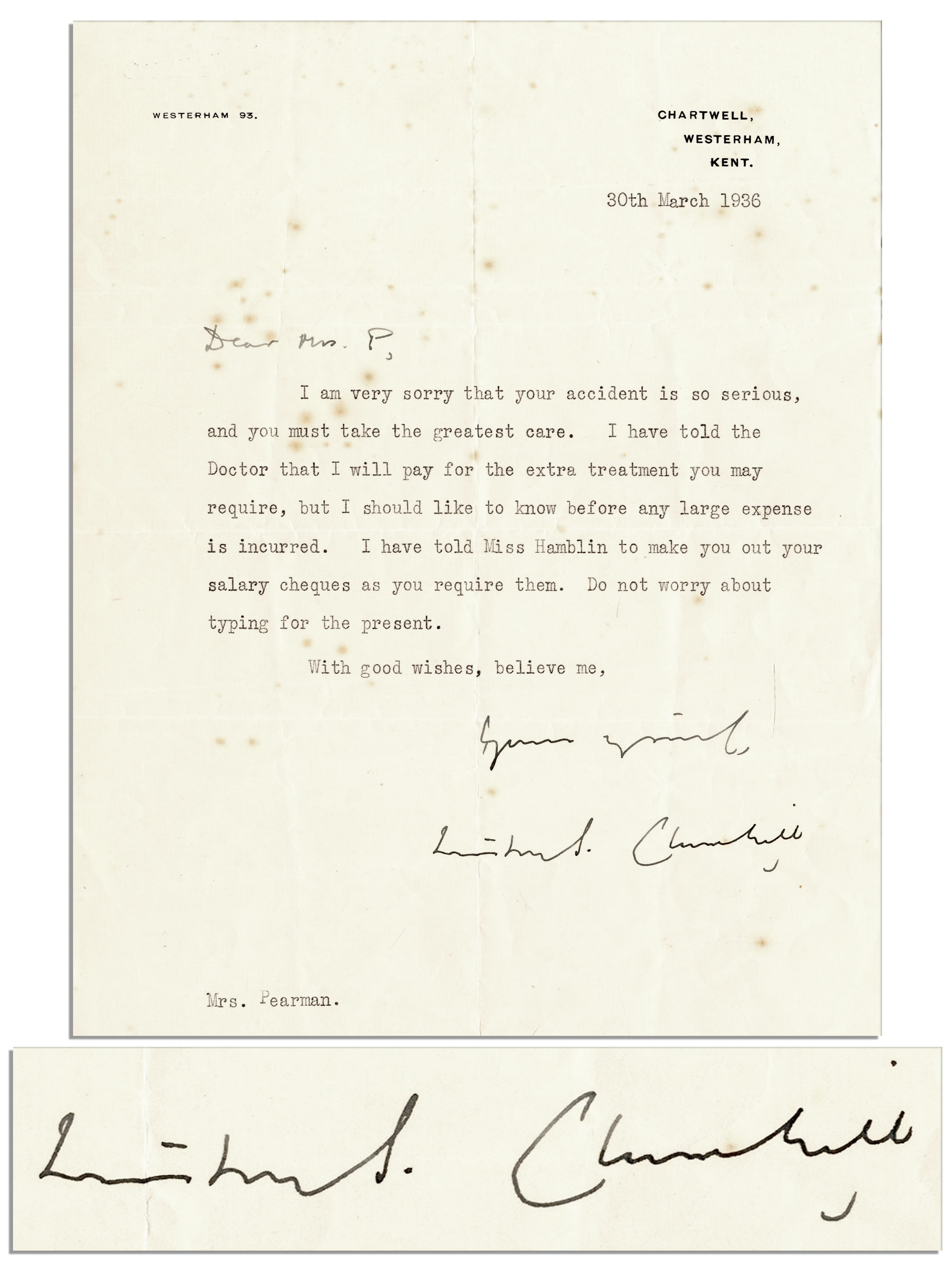 Lot Detail - Winston Churchill Typed Letter Signed -- Expressing ...
