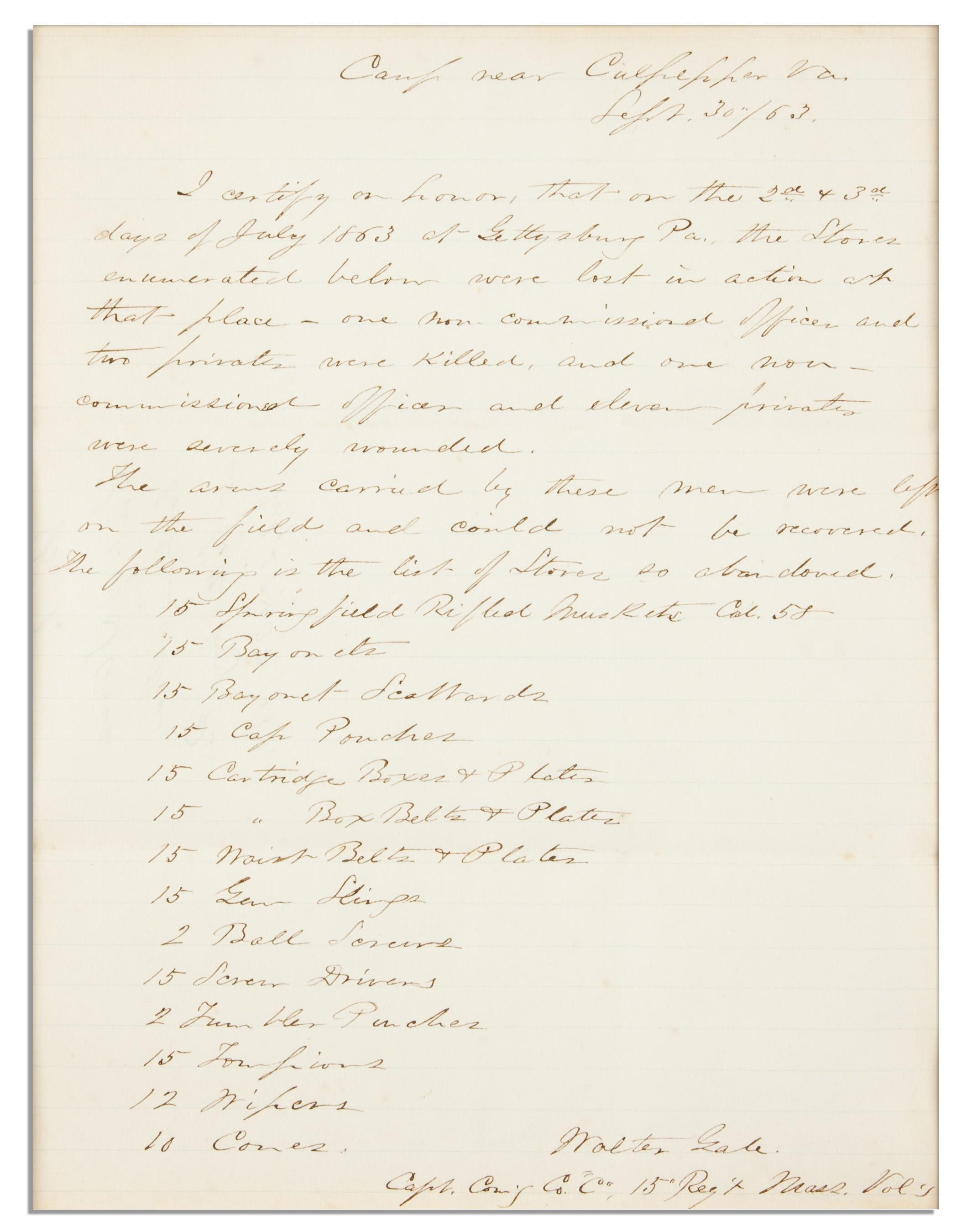 Gettysburg Letter