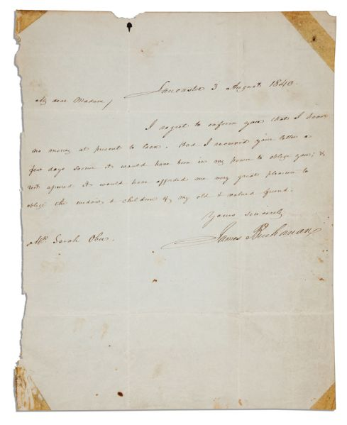 James Buchanan Autograph Letter Signed -- ''...I have no money at present to loan...''