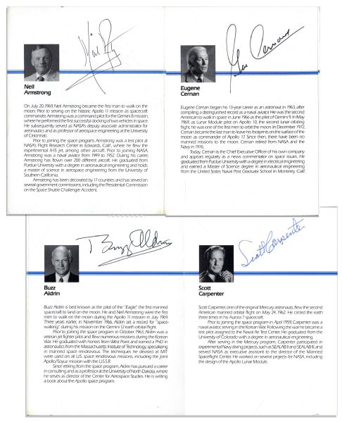 Apollo 11 Signed Program -- Air & Space Museum Program Signed by Neil Armstrong, Buzz Aldrin & Michael Collins, Along With Gene Cernan & Scott Carpenter