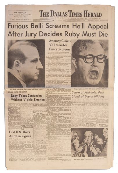 Dallas Newspaper Reporting on the Conviction of Jack Ruby in The Dallas Killing of Suspected JFK Assassin Lee Harvey Oswald