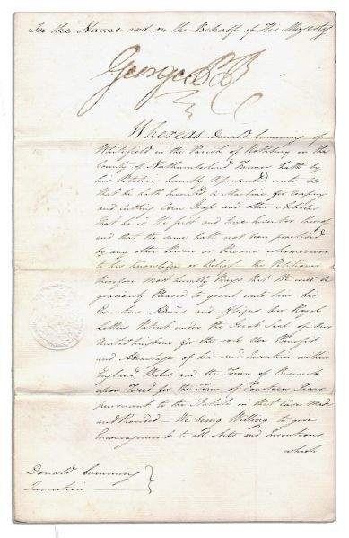 George IV Signs a Patent Document as Prince Regent During His Father King George III's Illness