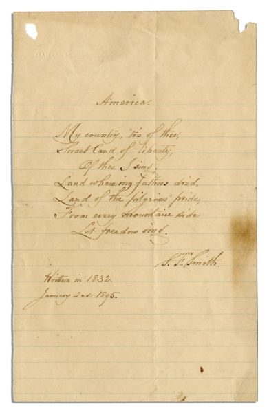 Samuel Smith Autograph Poem Signed of ''America'' -- ''My Country, 'Tis of Thee''