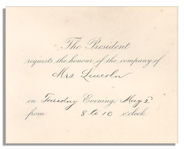 19th Century Presidential Invitation to ''Mrs. Lincoln''