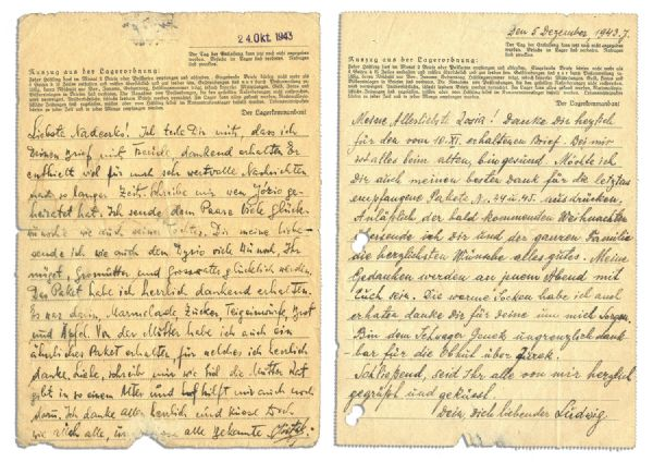 1943 Autograph Letter Signed by a Prisoner in Sachsenhausen Concentration Camp -- ''...Thankfully I have received the parcel. In it there was marmalade, sugar, dough...bread and apples...''