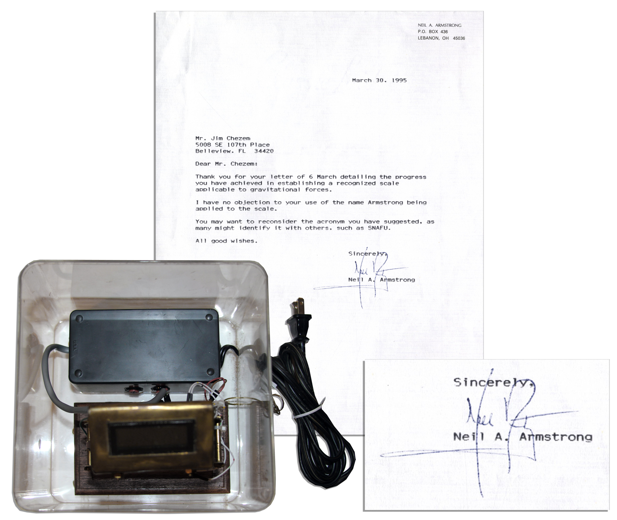 Neil Armstrong Typed Letter Signed    U0027u0027...I Have No Objection ...