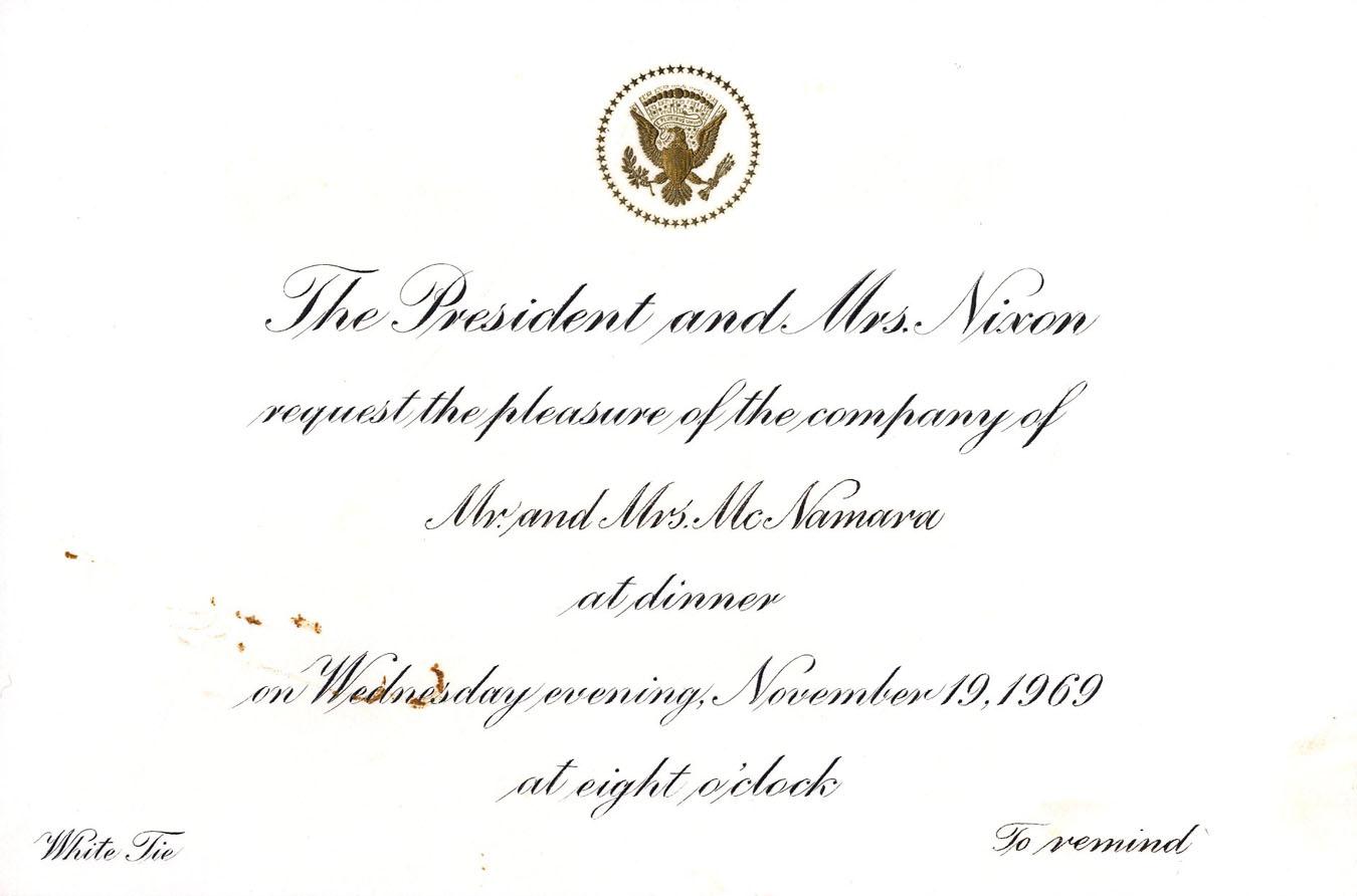 Lot detail richard nixon official white house invitation to richard nixon official white house invitation to former secretary of defense robert mcnamara stopboris Gallery