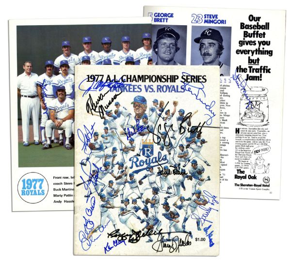 Thurman Munson Signed 1977 Championship Series Program -- Also Signed by 16 Players From The Yankees And Royals -- With PSA/DNA COA
