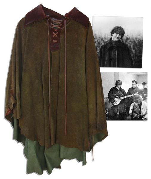 David Crosby Worn Suede Cape From His Personal Collection -- Worn Early in His Career With ''The Byrds''