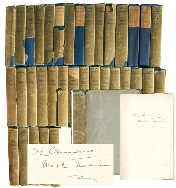 Mark Twain Autograph Mark Twain First Edition Mark Twain Twice-Signed 35-Volume Set of His Complete Works -- Signed Both ''Mark Twain'' And ''SL Clemens''
