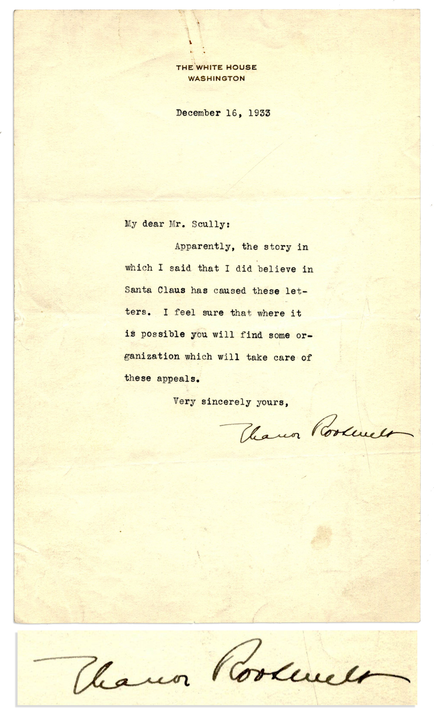 eleanor roosevelt typed letter signed on white house stationery