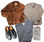 Mel Gibson Screen-Worn Wardrobe From The Beaver -- Leather Jacket, J. Crew Shirt, Wool Trousers