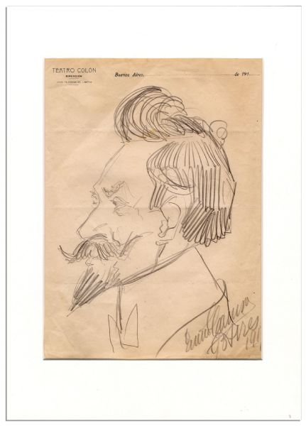 Enrico Caruso Signed Hand-Drawn Sketch of His Fellow Opera Singer, Pol Plancon