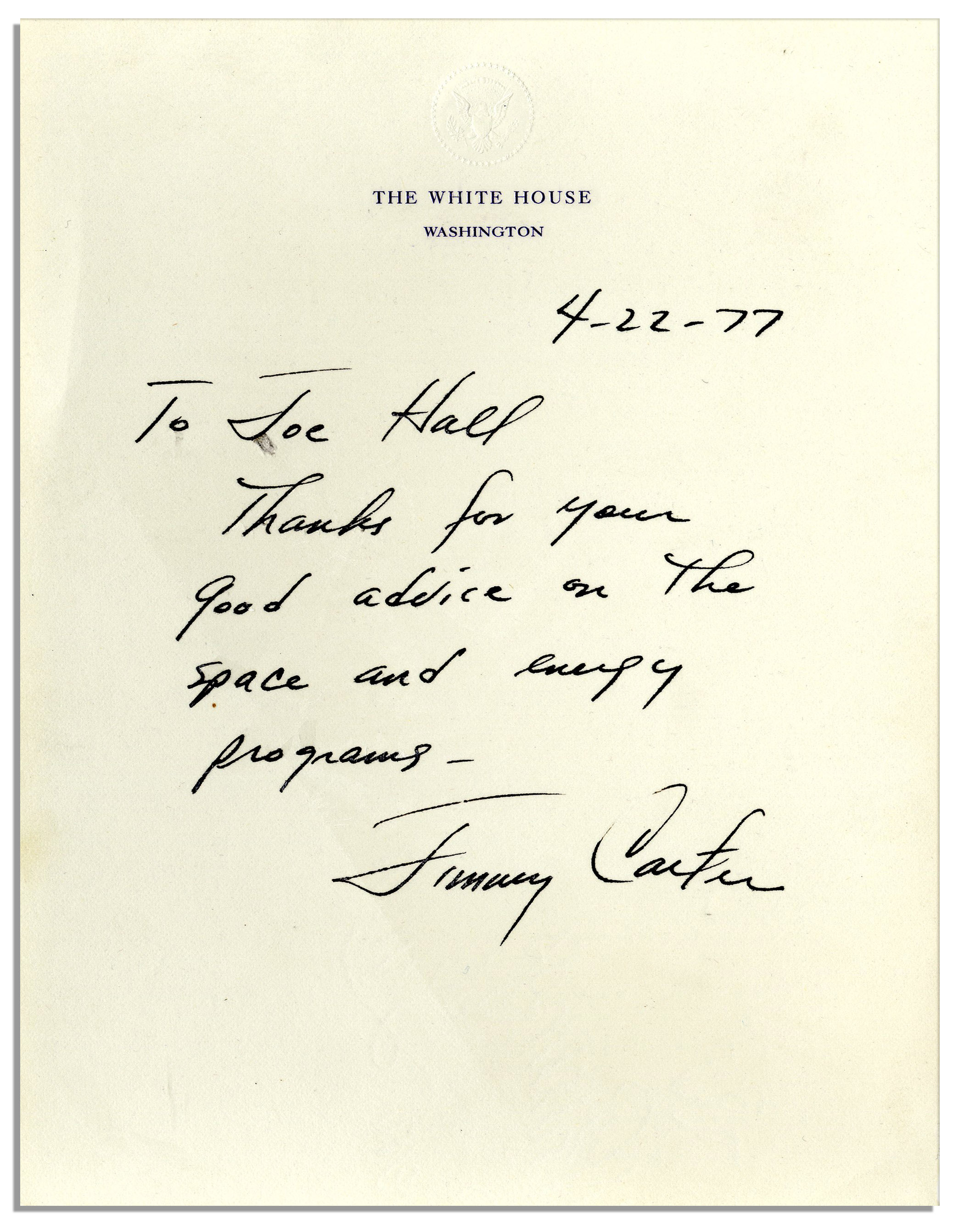 Jimmy Carter, Autograph Collector, January 2006.