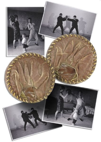 Bruce Lee's Personally Owned & Used Focus Mitts -- With Several Photos Showing Lee Punching or Kicking the Mitts