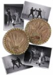 Bruce Lees Personally Owned & Used Focus Mitts -- With Several Photos Showing Lee Punching or Kicking the Mitts