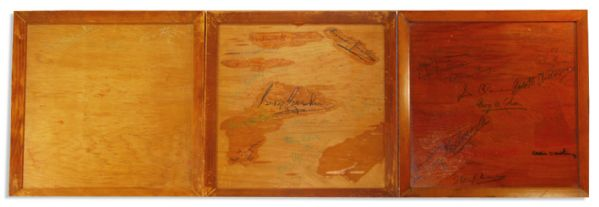 George & Ira Gershwin Signed Set of Wooden Bar Trays -- Also With Signatures of ''Porgy & Bess'' Lyricist DuBose Heyward, Conductor Alexander Smallens & Other 1935 Broadway Notables