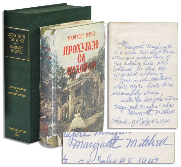 Margaret Mitchell Signed Yugoslavian Edition of ''Gone With The Wind'' -- Full-Page Autograph Inscription to Her Secretary