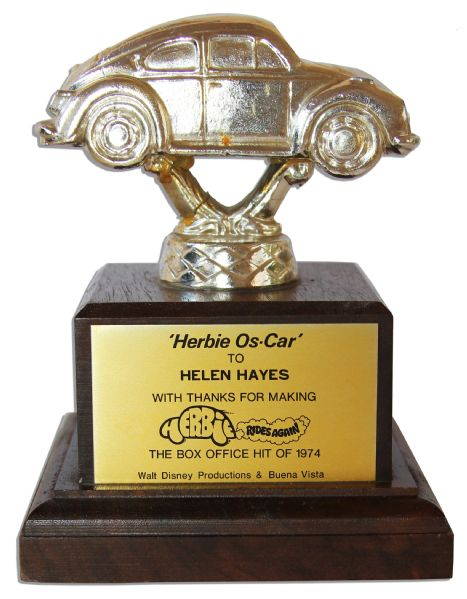 Unique 1974 Disney Trophy Bestowed Upon Legendary Actress Helen Hayes for Her Work in the Sequel to ''The Love Bug'' -- ''Herbie Rides Again''