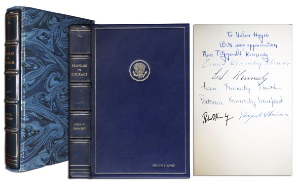 Memorial Edition of JFK's ''Profiles in Courage'' Signed by Robert Kennedy, Ted Kennedy & 5 More of the Kennedy Clan -- Dedicated to Legendary Actress Helen Hayes