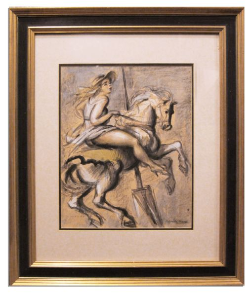 Reginald Marsh Artwork Signed -- One of Marsh's Recurring Muses, The Carousel Horse's Immodest Woman Rider -- From the Personal Collection of Actress Helen Hayes