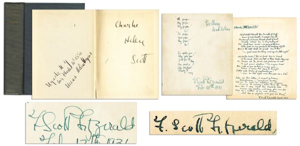 F. Scott Fitzgerald Lot of Two Extraordinary, Unpublished & Handwritten Poems: ''...Tenderest evidence, thumb-print of lust...'' -- Also With a Signed First Printing of ''Tender is the Night''