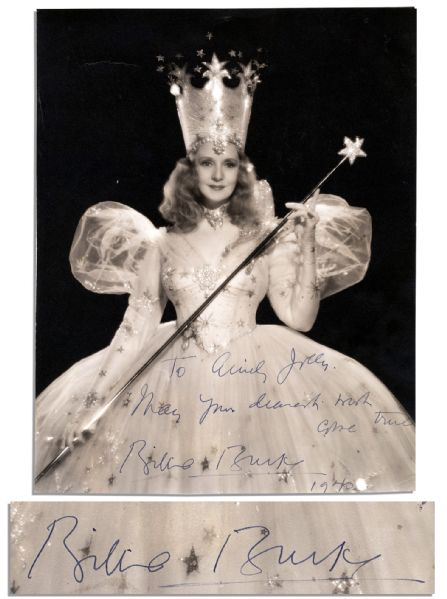 Billie Burke Signed Photo -- ''...May your dearest wish come true...'' -- in Costume as Glinda The Good Witch in ''The Wizard of Oz''