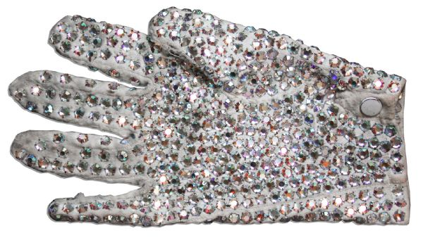 Michael Jackson Personally Owned Trademark White Sequined Glove -- Gifted to the Artist He Commissioned for Neverland, Circa 1984