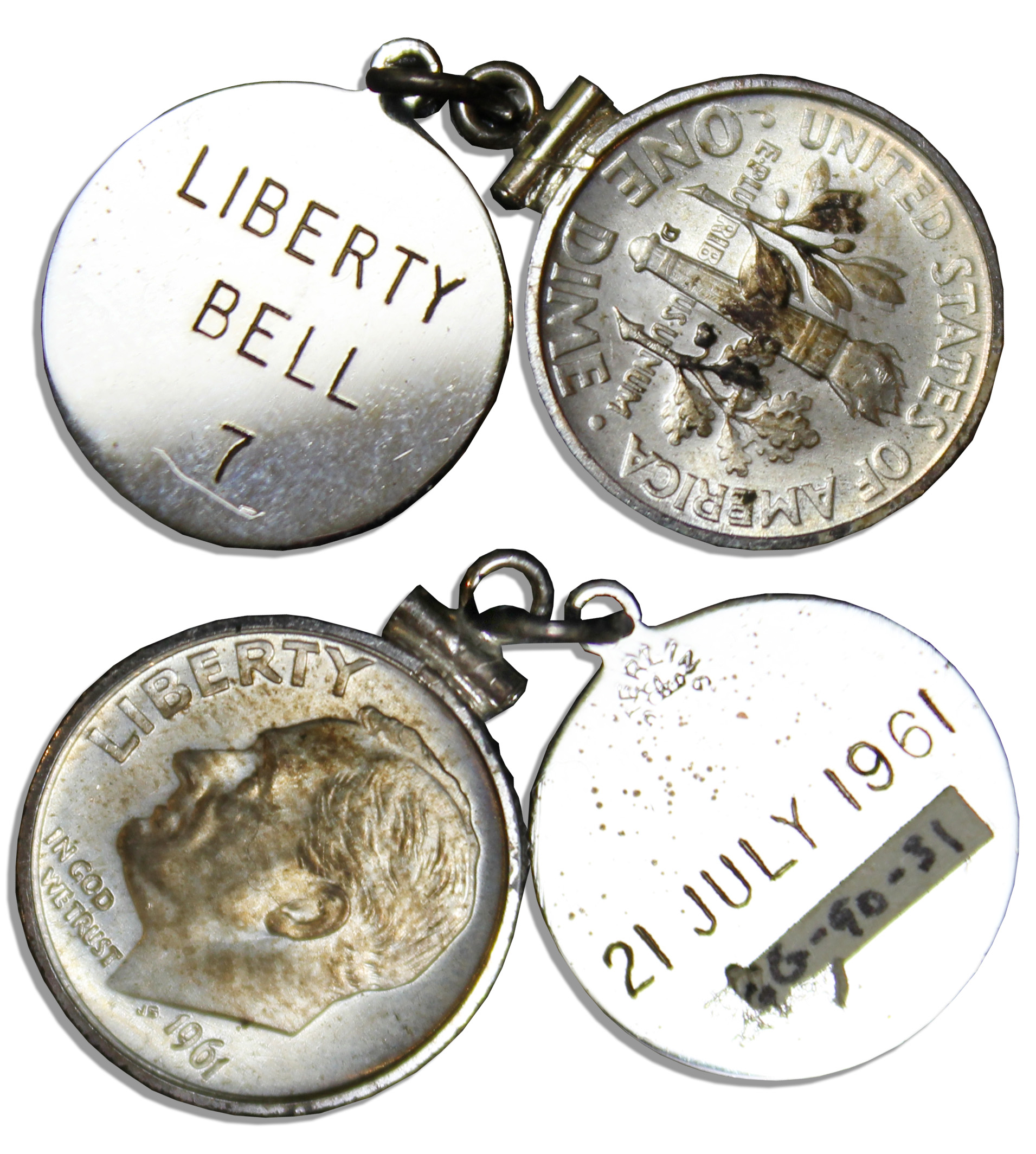 Liberty Bell 7 Space flown dime