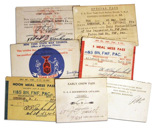 Bob Keeshan Collection of Seven 1940's Navy-Related ID Cards