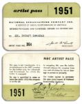 Bob Keeshan Signed 1951 NBC Artist Pass -- From His Days on Howdy Doody