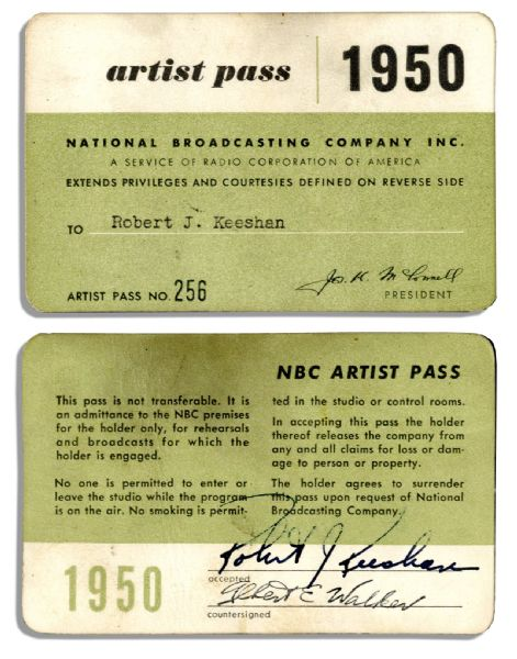 Signed 1950 NBC Artist Pass for Robert Keeshan -- From His Days on ''Howdy Doody''