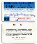 Bob Keeshans 1949 Radio Working Pass -- So He Can Work at the Ringling Bros. and Barnum & Bailey Circus