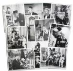 Captain Kangaroo Photo Lot of 12 Images Taken On Set -- With Two Images of The Captain With Santa Claus in 1958