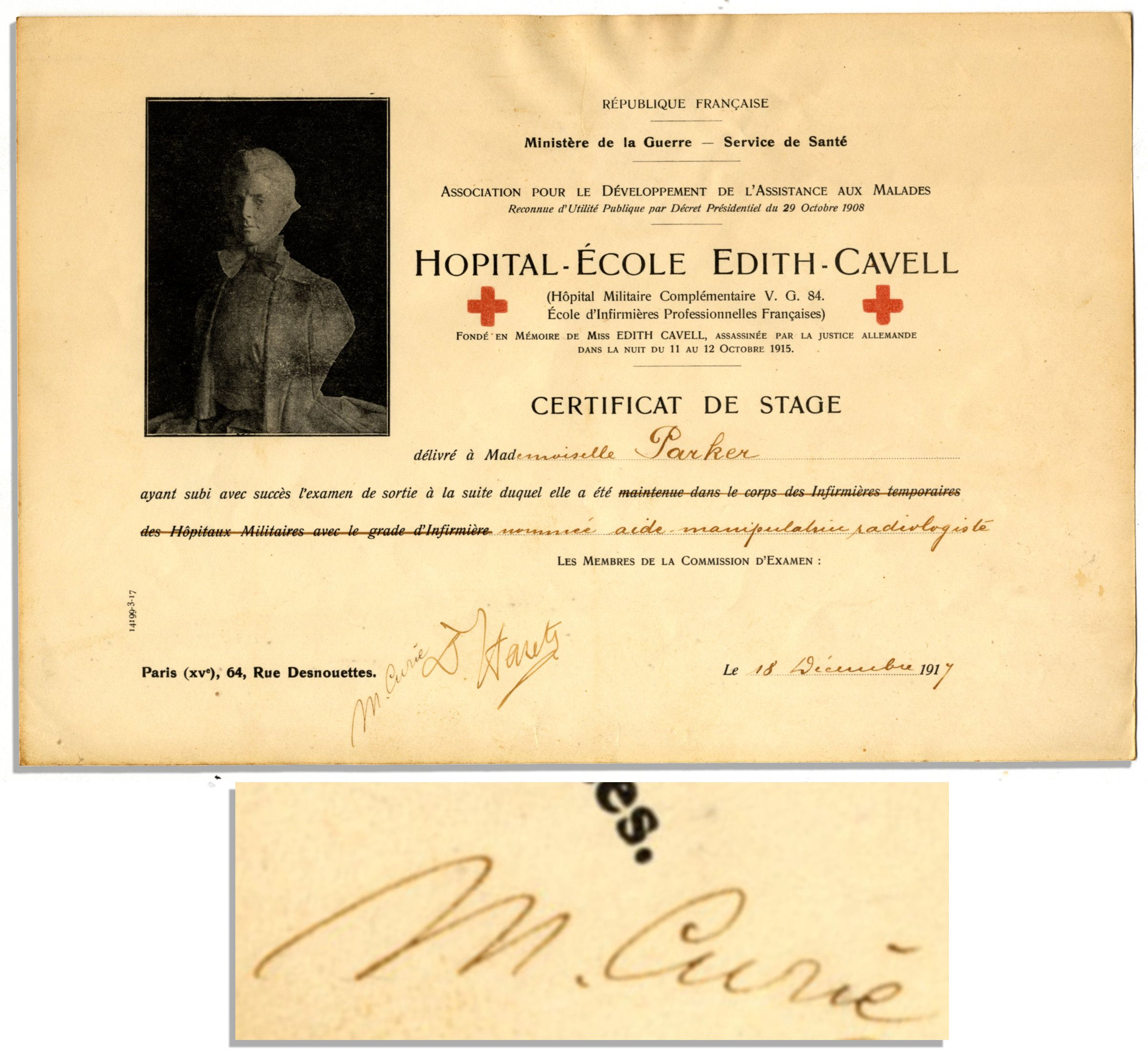 Lot Detail Amazing Marie Curie Signed Radiology Training Certificate