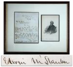 Edwin Stanton 1862 Autograph Letter Signed, Mentioning Lincoln -- ...long and favorably known to the President...