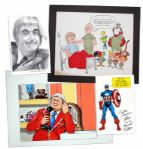 Four-Piece Collection of Captain Kangaroo Artwork -- Includes Get Well Wishes After Keeshans 1981 Heart Attack