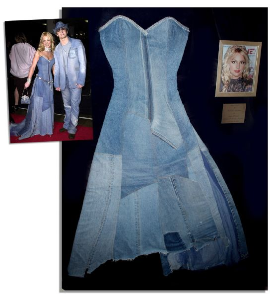Britney Spears One-of-a-Kind Denim Gown Worn on the Red Carpet With Justin Timberlake at the 2001 American Music Awards -- With an LOA Signed by Spears